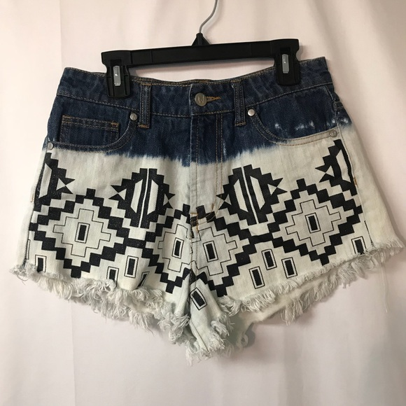 MINKPINK Pants - MINKPINK Aztec DipDye High Waisted denim cutoffs